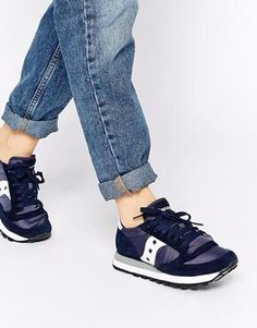 Shop Saucony Jazz Original Navy White Trainers at ASOS. 6f9ca498d80