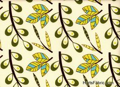 Vintage Fabric Patterns   Retro leaf pattern fabric