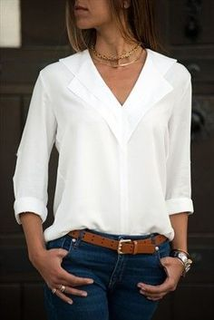 Flash Deals White Blouse Long Sleeve Chiffon Blouse Double V-neck Women Tops and Blouses Solid Office Shirt Lady Blouse Shirt Blusas Camisa The Office Shirts, Work Shirts, Mode Outfits, Fashion Outfits, Style Fashion, Jeans Fashion, Fashion Blouses, Ladies Fashion, Curvy Fashion