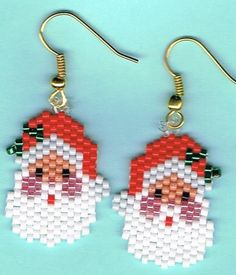Here is a lovely pair of Santa head earrings. They measure 3/4 x 1. They were designed by Linda K Hampton and beaded by me one bead at a time in a