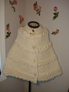 Brand New Knit Ivory Winter poncho, wedding poncho, Ivory Chunky Poncho Cape…