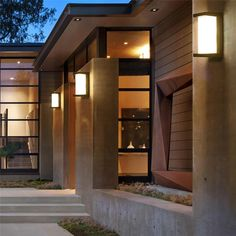 Decorate your patio, fences, garden, or any outdoor space with this stunning modern waterproof outdoor light! Measures x x LED light bulbs included. Features waterproof technology - perfect for outdoors! Power Source: A Minimalist House Design, Minimalist Home, Architecture Design, Patio Interior, Interior Doors, Dream House Exterior, Modern Lighting, Lighting Ideas, Modern Outdoor Lights