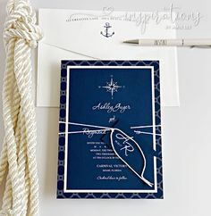 Nautical Wedding Invitations in navy blue and white Boat Wedding, Destination Wedding, Nautical Wedding Invitations, Nautical Design, Addressing Envelopes, Yacht Club, Ink Color, Boating, White Envelopes