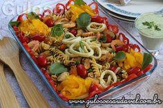 #BomDia! O #almoço é esta Salada de Fusilli Integral com Frutos do Mar, é deliciosa, leve, saudável e muito prática!  #Receita aqui: http://www.gulosoesaudavel.com.br/2016/02/19/salada-fusilli-integral-frutos-mar/