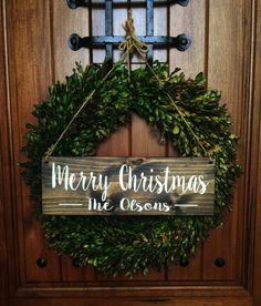 Welcome Sign Christmas Door Sign Merry by TheWoodGrainHome