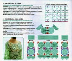 Andreia Lessa Knitting and Crochet: Beat Selena Gomez Crochet Poncho Patterns, Crochet Tunic, Crochet Motif, Irish Crochet, Crochet Designs, Crochet Clothes, Crochet Lace, Crochet Stitches, Crochet Hooks