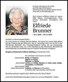 Todesanzeige für Elfriede Brunner vom 19.12.2016 - VN Todesanzeigen