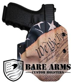 Outside the waistband holster with an American Flag/Preambledesign.  Item #1065