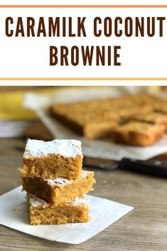 Absolutely delicious Caramilk Coconut Brownie, lovely flavours and a dense brownie. This is the best! Best Dessert Recipes, Easy Desserts, Sweet Recipes, No Bake Slices, Coconut Brownies, Brownie Recipes, Cadbury Recipes, My Best Recipe, Tray Bakes