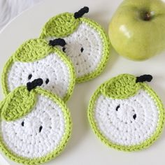 Apple Coaster, Set Of Green Apple Coaster, Teachers Gift, Housewarming Gift, Apple Decorations Fo Crochet Fruit, Crochet Food, Crochet Kitchen, Crochet Gifts, Crochet Flowers, Crochet Coaster Pattern, Crochet Motif, Crochet Designs, Crochet Patterns