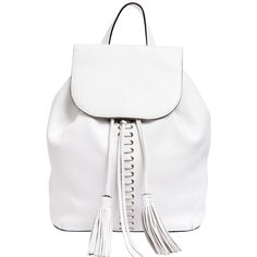 Rebecca Minkoff Women Moto Leather Backpack ($460) ❤ liked on Polyvore featuring bags, backpacks, purses, accessories, white, drawstring flap backpack, day pack backpack, drawstring backpack, white drawstring backpack and genuine leather backpack