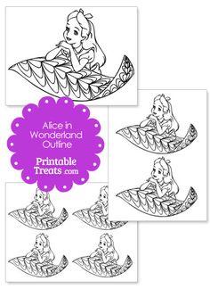 Printable Alice in Wonderland on a Leaf Outline from PrintableTreats.com