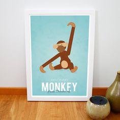 Retro Kay Bojesen monkey print from Denmark, Iconic danish design retro poster, Nursery art, Mid century art print, Brown Blue A3 on Etsy, $19.54