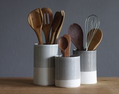 utensil holder cylinder shaped white porcelain by vitrifiedstudio, $60.00