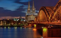 Cologne, bridge, night, Cologne Cathedral, Germany