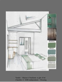 Beautiful colors, designs and trends! Get inspired for your interior design projects! Click the photo to see more! Croquis Architecture, Interior Architecture Drawing, Plans Architecture, Drawing Interior, Architecture Design, Home Design, Interior Design Process, Interior Design Sketches, Design Projects