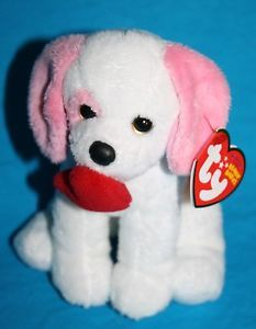 Ty Beanie Baby Amore Dog pink white red plush heart MWMT Valentine Day stuffed