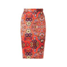 VIVIENNE WESTWOOD ANGLOMANIA Dynasty-print pencil skirt (18.400 RUB) ❤ liked on Polyvore featuring skirts, falda, pink multi, pink floral skirt, pencil skirt, tribal skirt, floral print pencil skirt and red pencil skirt
