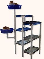 PVC Cat Tree.......Looks easy enough to DIY.....PVC pipe....canvas and flat bowls....my cat would love it !!