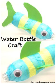 recycled water bottle craft -- make a fish from a water bottle  --  Earth Day craft