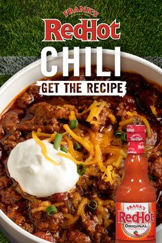One-pot chili is not only simple to clean up, but now it has all the great Frank's RedHot taste you love. Plus this easy chili recipe takes less than half an hour to make. Set out your favorite toppings with the chili and enjoy the game! Chilli Recipes, Mexican Food Recipes, Crockpot Recipes, Soup Recipes, Great Recipes, Cooking Recipes, Favorite Recipes, Dinner Recipes, Dinner Ideas