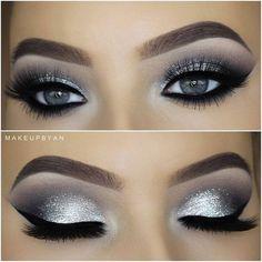 eye make-up tutorial; eye make-up for brown eyes; eye make-up pure; Smoke Eye Makeup, Silver Eye Makeup, Eye Makeup Steps, No Eyeliner Makeup, Silver Eyeshadow Looks, Metallic Eyeshadow, Pink Eyeliner, Eyeshadow Palette, Glitter Eyeshadow Tutorial