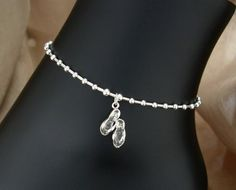ANKLET  Beach FlipFlops  Sterling Silver  Sizes 9 to 11 by anklets, $32.00