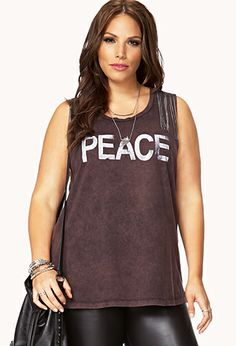 Chained Peace Muscle Tee | FOREVER21 PLUS - 2074884541