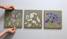 Daisies Cornflowers Bells Wildflowers bouquet triptych three small oil paintings on canvas wall collage kit of floral painting Three Canvas Painting, Canvas Wall Collage, Small Canvas Paintings, Small Canvas Art, Mini Canvas Art, Painting Collage, Oil Painting Flowers, Small Paintings, Artist Painting