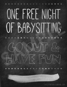 Babysitting gift certificate download fully customizable psd or one free night of babysitting yadclub Choice Image