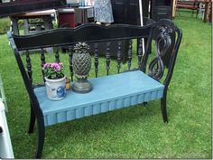 Bench made of repurposed headboard and chairs.