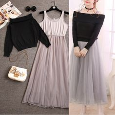 Save this uniquely designed Sweet dew shoulder knitting + dress. fashion in the house. Indian Fashion Dresses, Girls Fashion Clothes, Teen Fashion Outfits, Cute Fashion, Asian Fashion, Look Fashion, Girl Outfits, Sweet Fashion, Petite Fashion