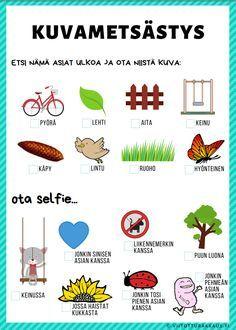 Kuvametsästys 2 - Viitottu Rakkaus Environmental Education, Kids Education, Special Education, Stem Activities, Activities For Kids, Trendy Baby, Learn Finnish, Finnish Language, Fun Outdoor Games