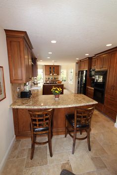 Interior Designers Home Bathroom Kitchen Remodeling Orange County : APlus Home Improvements White Kitchen Cabinets, Kitchen Cabinet Design, Kitchen Interior, Rustic Kitchen, Kitchen Decor, Kitchen Colors, Kitchen Island Designs With Seating, Interior Design And Remodeling, Brown Kitchens
