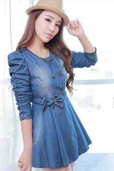 Casual Long-sleeved Round Neck Denim Dress 1