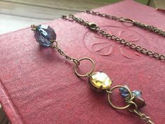 Antique gold finish Zinc alloy, shells, glass, wood, acrylic beads necklace. Blue and dusty gold. Fashion accessory. Perfect gift for her.