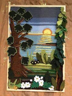 Crochet Wall Art, Crochet Wall Hangings, Crochet Diy, Crochet Curtains, Freeform Crochet, Crochet Home, Irish Crochet, Crochet Motif, Crochet Designs