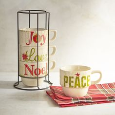 Our stackable stoneware mugs communicate the words and feelings that the holiday…