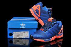finest selection 37cd1 62ec8 Mens Adidas ZX Flux Weave 8000 OG B34896 Dark Blue Navy Orange Black