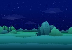 seamless-background-cartoon-summer-night-landscape-forest-and-sky-with-stars