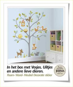 Decoratie sticker: Woodland Fox and Friends Tree decoratie muurstickers meubel klevers plakkers op de wand