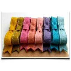 Wool Felt Bow French Barrettes // Hair Bow // by LoftFullOfGoodies, $21.60