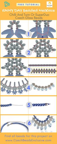 ? Chilli and Twin or SuperDuo Czech Glass Beads - RAINY DAY Beaded Necklace Free Pattern Tutorial (PDF) -> SAVE it! What�s the weather like today? Do you have a winter mood or is it still autumn in your heart? In each case, we�ve prepared a new Chilli, SuperDuo Twin, Two hole beads patterns necklace tutorial for you! To tell the truth, it�s not easy to repeat this braided bead necklace pattern, but it�s worth to try! The material you will need are Czech Glass Chilli beads, Twin beads, 10/0…