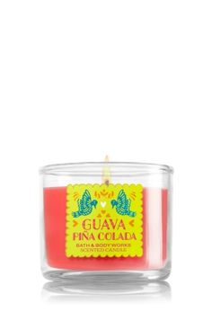 "Guava Pi�a Colada - Mini Candle - Bath & Body Works - Made using the highest concentration of fragrance oils and an exclusive blend of vegetable wax and lead-free wicks, our Mini Candles are contained in elegant glass and topped with a flame-extinguishing lid. Mini Candle burns approximately 10-15 hours and measures 2"" wide x 1 3/4"" tall."