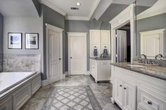 1825 14th 1/2 St. Stunning Master bath with dual sinks. Bernstein Realty, Houston Real Estate.