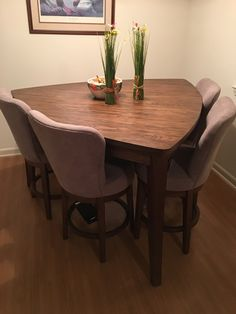 Elegant Modern Design Dining Table With 4 Rotating Chairs And One Bench. Its Beautiful Dining Table Set Dinning Table Design, Round Dining Table, Dining Room Table, Expandable Dining Table, Home Room Design, Small Dining, Home Decor Furniture, Elegant, 3d Printing