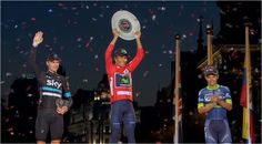 El mejor del mundo es colombiano, suena nuestro himno en Madrid , felicitaciones #NairoCampeón y gracias!!  #orgullocolombiano #porunfuturomejor, el uno y el tres con #Chavito, el podio es #col