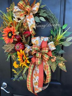 Custom And Unique Door Wreaths Autumn Wreaths For Front Door, Fall Wreaths, Door Wreaths, Grapevine Wreath, Fall Crafts, Diy And Crafts, Thanksgiving Wreaths, Thanksgiving 2020, Wreath Crafts