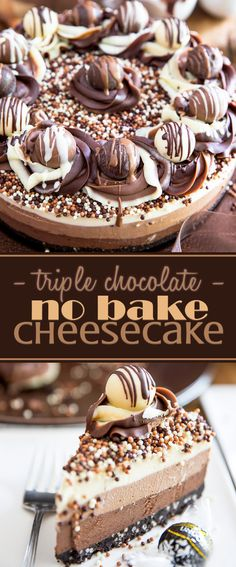Triple Chocolate No-Bake Cheesecake by My Evil Twin's Kitchen | Recipe and step-by-step instructions on eviltwin.kitchen