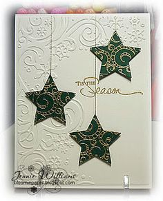 Bloomin' Paper: christmas I used a stamp of a Christmas tree from Flourished and stamped it three times with Versamark ink and embossed with gold embossing powder and then used a Nestie to cut the stars. The sentiment is from PTI also embossed in gold. Homemade Christmas Cards, Christmas Cards To Make, Christmas Paper, Homemade Cards, Handmade Christmas, Holiday Cards, Christmas Stars, Christmas Scrapbook, Christmas 2019